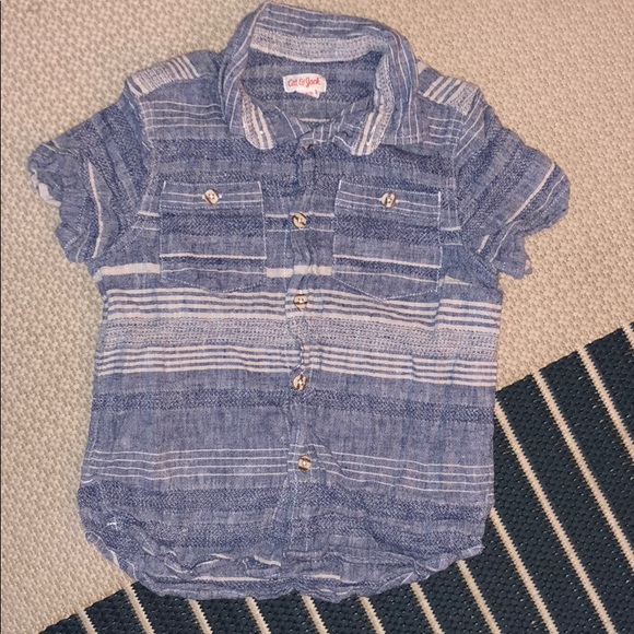 Cat /& Jack Grey Stripe Infant Toddler Boys Shirt 18M 2T 3T 5T NWT
